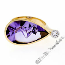 18k Yellow Gold Atelier Munsteiner Icicle Cut Amethyst Diamond Ring w/ Papers