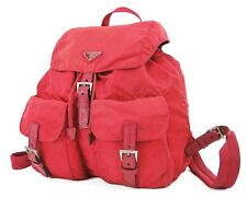 Authentic PRADA Red Nylon and Leather Backpack Bag Purse #36944