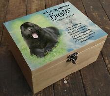 Wooden Pet Urn Dog Box Cremation Ashes Casket & headstone tile Newfoundland