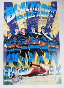 BLACKHAWK Promotional Poster,  MARTIN PASKO, RICK BURCHETT , Fine DC 1988  r