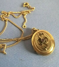 Pendentif Médaillon Ancien Ouvrant + Chaine en Plaqué Or