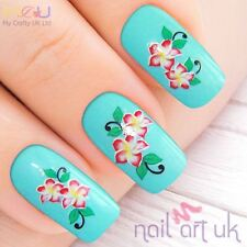 Pink Flower Water Decal Nail Stickers Tattoo Art 01.03.080