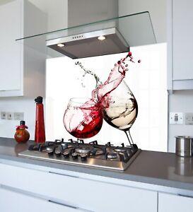 Red Wine Splash Toughened /& Heat Resistant Printed Kitchen Glass Splashback