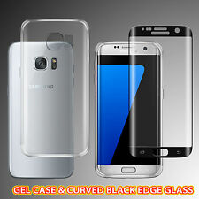 TPU Gel Case & Curved Tempered Glass Screen Protector For Samsung S7 Edge -BLACK