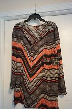 ZOZO BLOUSE NWT $158 STUNNING LIGHTWEIGHT GREAT COLORS AND DESIGN SEXY CHIC LG.