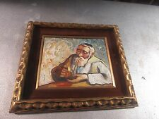 "Vintage Palette Knife Oil on Board Painting Man W/ Pipe 8""x10"" - 13""x15"" Framed"