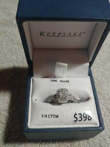 10k White Gold Keepsake Diamond Ring 1/4 Cttw .25 Wedding band carat