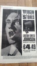 LINTON KWESI JOHNSON 1984 UK Poster size Press ADVERT 16x12 inches
