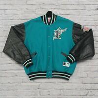 Vintage 90s Florida Marlins Leather Wool Varsity Jacket by Felco Size XL