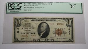 $10 1929 Somerville New Jersey NJ National Currency Bank Note Bill #4942 VF20