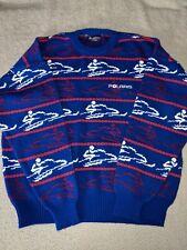 New listing 1980s vintage POLARIS sweater XXL blue SNOWMOBILE  (L314)