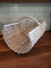 """Vintage White Large Wicker Flower Gathering Basket Natural 17""""L"""