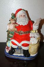 Vintage 1993 Omnibus Fitz & Floyd Christmas Santa In Chair With List Cookie Jar
