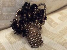 antique beaded , flowers in a basket, pin very unusual