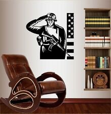 Wall Vinyl Decal Soldier Saluting USA Flag Military Man Army  Wall Sticker 473
