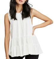 Free People Womens Tunic Top White Size Medium M Right On Time Crewneck $68- 737