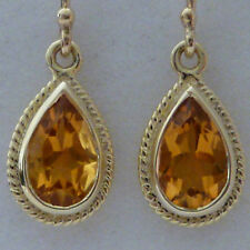 VIBRANT 9ct SOLID Gold Vintage Insp Natural CITRINE Drop EARRINGS E12