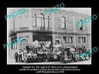 OLD LARGE HISTORIC PHOTO OF ADELAIDE SA THE MENZ BISCUITS FACTORY & WORKERS 1920