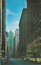 Vintage chrome postcard, traffic on LaSalle Street, Chicago, IL