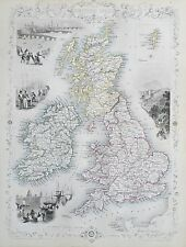 c1854 BRITISH ISLES ENGLAND WALES IRELAND SCOTLAND Genuine Antique Map by Rapkin