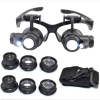 8PCS Lens Magnifier Magnifying Eye Glass Loupe Watch Repair with LED Light Black
