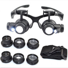 With LED Light 8 Lens Magnifier Magnifying Eye Glass Loupe Jeweler Watch Repair