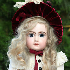 ANTIQUE JUMEAU BISQUE PORCELAIN DOLL CLOSED MOUTH IN TOP SILK DRESS EXCLUSIVE