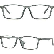 Large Flexible Memory Plastic Frame Light Wide Prescription Lenses Glasses Gray