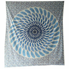 Couverture indienne Tenture Plume Turquoise 230x210cm