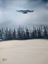 Original watercolour painting.  Owl soaring over kielder forest.