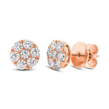 0.83 CT 18K Rose Gold Natural Round Brilliant Diamond Cluster Stud Earrings