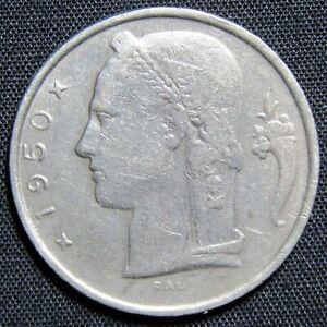1950 Belgium 5 Francs Coin