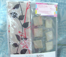 NEW Pretty FABRIC Shower Curtain SHADOW VINE / BEIGE W/ Hooks that match