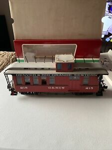 LGB 4075 G Denver & Rio Grande Western Deluxe Drovers Caboose - LIGHTED BOXED