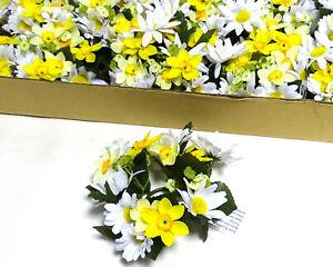 12 Stück Kerzenringe Kerzenkranz KAMILLE + NARZISSEN Frühling Ring weiß-gelb