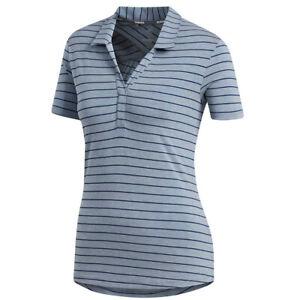 New Adidas Heather Stripe Night Indigo Polo Women's Medium - DQ0512