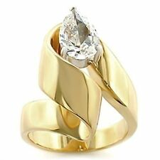 Pear Solitaire Yellow Gold Costume Rings