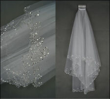 2017 New 2 Layers Beaded Edge Pearl Sequins Bridal Wedding Veil With Comb Ivory