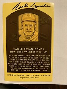 Earle Combs signed Baseball Hall of Fame plaque postcard N.Y. Yankees '24-'35
