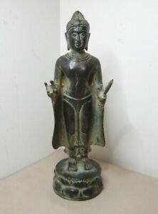 OLD ASIAN BRONZE STANDING BUDDHA - 23.5cm - 578 GRAM