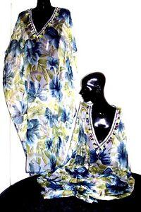 Kaftan / 100% Chiffon viscose/long / Embellished /  RR$129 / Green & Misty Blue