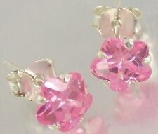Sterling Silver pink CZ Flower Stud Earrings 6mm, Studs 925 stamped on closure