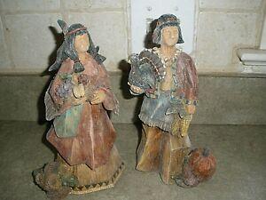"Thanksgiving GANZ Native American Pilgrim Figures 10"" tall EUC"