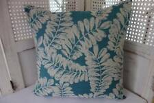 Hamptons Coastal Turquoise & Ivory Leaves Cotton Blend  Cushion Cover 45cm