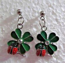 "Green Clover Irish 3/4"" Custom w Ladybug Dangle Stainless Steel Stud Earrings"