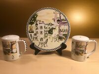 Italian Cafe Scene Hand Painted Ceramic SALT & PEPPER SHAKERS with Display Plate