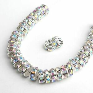 100pcs Rhinestone Rondelle Spacer Beads 6/8mm Crystal Loose Beads DIY Jewelry Ma