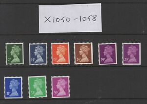 X1050-X1058. Set x 9 Walsall Litho booklet Machins. Unmounted mint. FREEPOST!