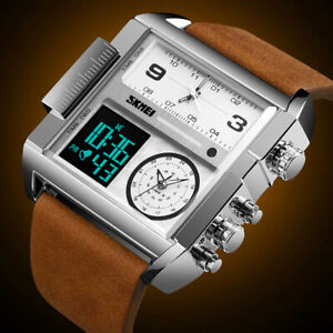 Mens Square Leather Band Quartz Waterproof Stopwatch 3 Time Multi-Function Watch