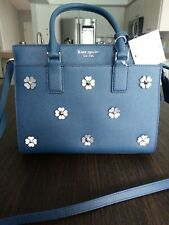 Kate Spade Cameron Satchel Flower Applique Blue Purse Tote Bag msrp $479